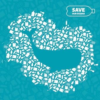 Stop ocean plastic pollution concept vector illustration. whale ocean mammal outline