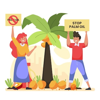 Stop palm oil producing industry concept