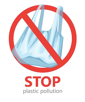 Stop plastic pollution. no plastic bags symbol. saving ecology logo.   illustration on white background