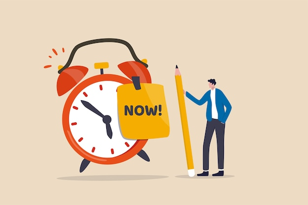 Stop procrastination, do it now or decision to finish work or appointment in time concept