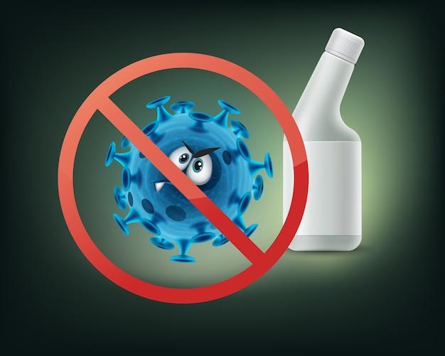 Стоп запрещать знак на бактерии крупным планом, вид спереди, изолированные на белом фоне