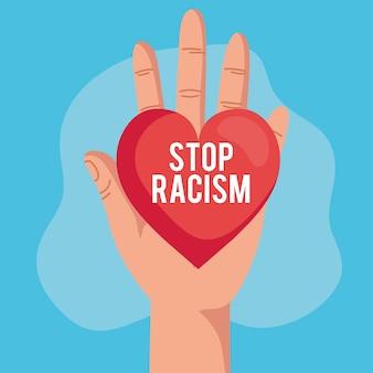 Остановить расизм и рука с сердцем, концепция черного живет материей