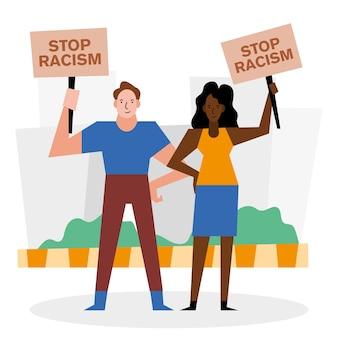 인종 차별 금지 흑인 생활 문제 배너 항의 테마의 여성과 남성 디자인.