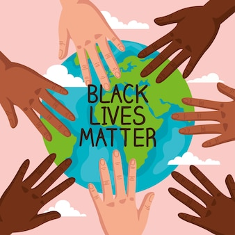 人種差別、手と世界の惑星を停止、黒の生活問題のコンセプトイラストデザイン