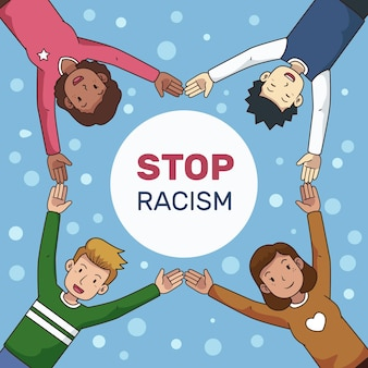 Ferma il disegno dell'illustrazione del razzismo