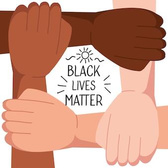 Stop racism, with four joined hands, black lives matter concept illustration design