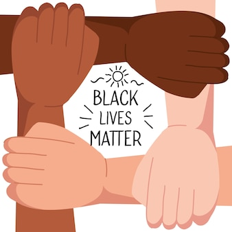 Stop racism, with four joined hands, black lives matter concept