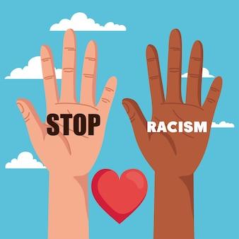 Остановите расизм, с рукой и сердцем и облаками на заднем плане, концепция черного живет материей