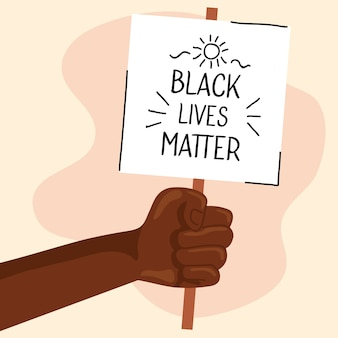 Stop racism, with hand and banner, black lives matter concept