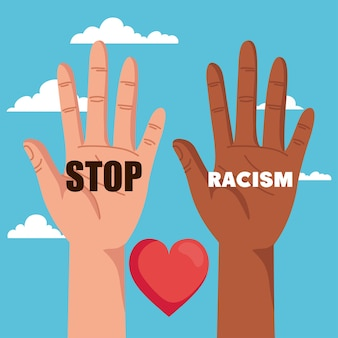 Stop racism, with hand and heart and clouds on background, black lives matter concept