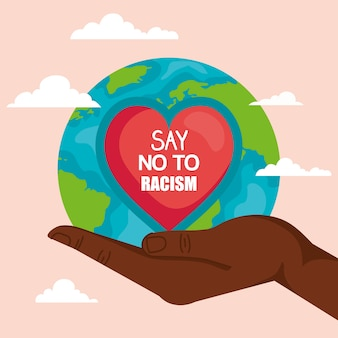 Stop racism, with hand receiving heart and world planet