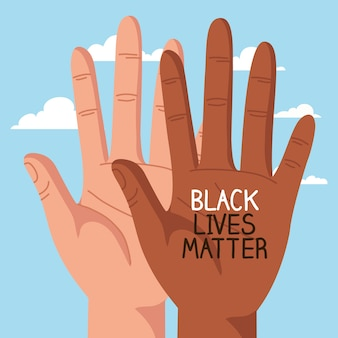 Stop racism, with hands and cloud on background, black lives matter concept