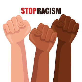 Stop racism, with hands in fist, black lives matter concept