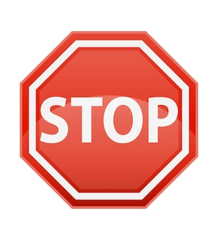 Stop road sign for traffic regulation on white