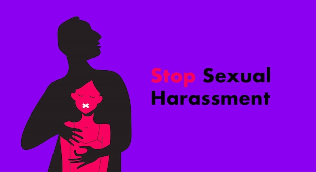 Stop sexual harassment  illustration. frightened girl suffering from aggressive behavior.  rape victim. me too teg.