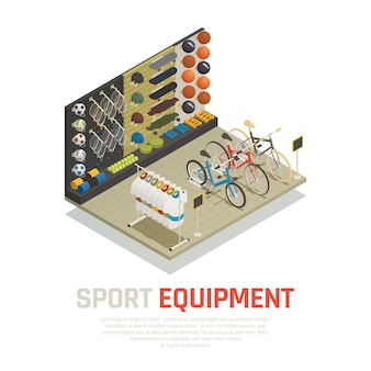 Stop shelves with sport equipment tennis racket skateboards mats for yoga and bicycles isometric composition