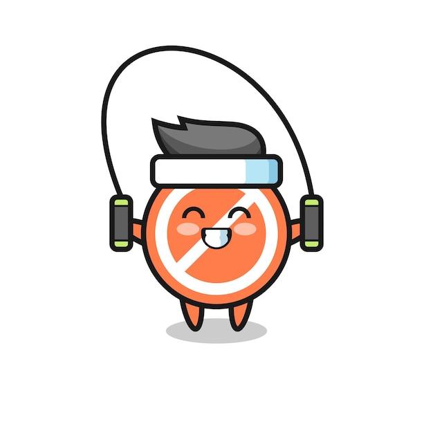 밧줄을 건너뛰는 정지 신호 캐릭터 만화, 티셔츠, 스티커, 로고 요소를 위한 귀여운 스타일 디자인