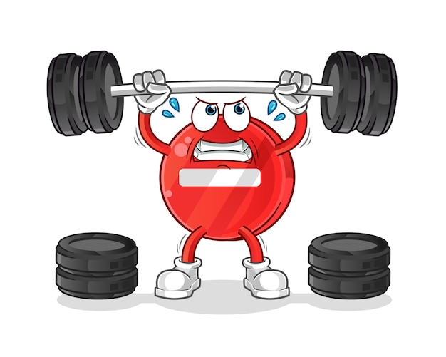 Stop sign lifting the barbell character