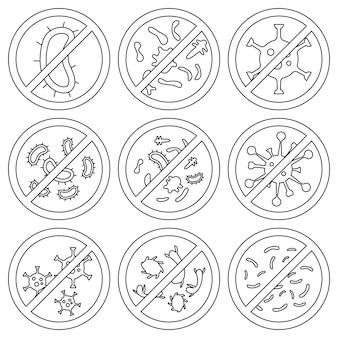 ウイルス、細菌、微生物の一時停止の標識。抗菌および抗ウイルス防御、感染からの保護。抗菌サインのセットです。バクテリアやウイルスを止め、禁止標識。バクテリアなし、アイコン