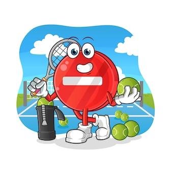 Stop sign plays tennis illustration