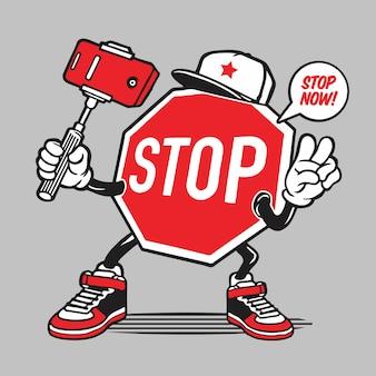 Stop sign selfie character