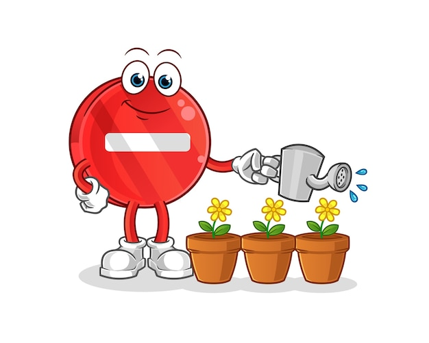 Stop sign watering the flowers mascot