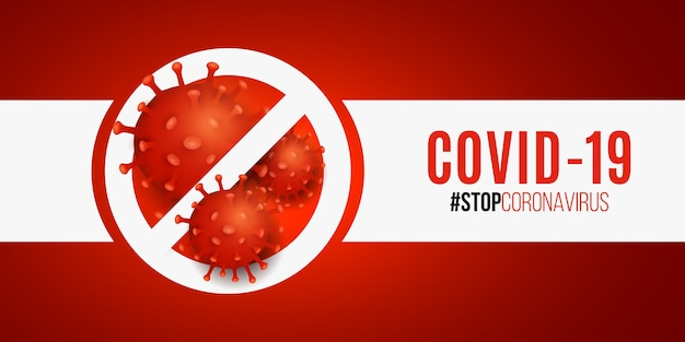 Stop sign with 3d pathogen organism coronavirus.