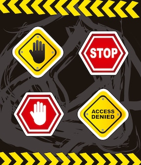 Stop signs with hands over grunge background vector illustration