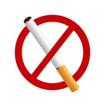 금연하십시오. 빨간색 원 안에 흰색 배경에 현실적인 담배.