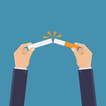 Stop smoking, break a cigarette