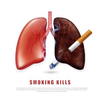 禁煙キャンペーンのイラスト健康のためのタバコなしタバコは現実的な肺を刺します