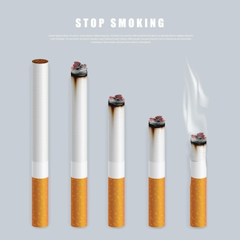 Stop smoking campaign illustration no cigarette for health cigarettes in different height