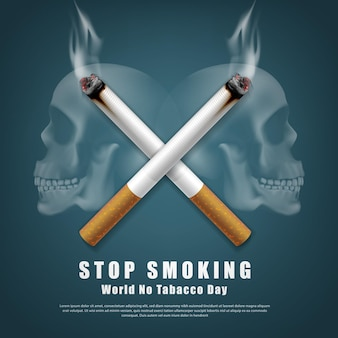 Stop smoking campaign illustration no cigarette for health two cigarettes crossed and scary human skull background