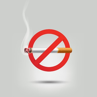 Stop smoking, cigarette burning red prohibition sign,  illustration