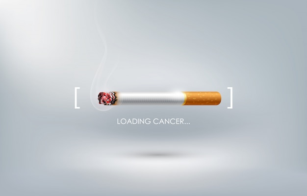 Stop smoking concept advertisement, cigarette burning as cancer loading bar, world no tobacco day,