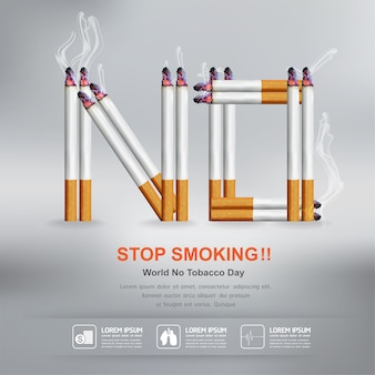 Stop smoking  concept for background world no tobacco day.