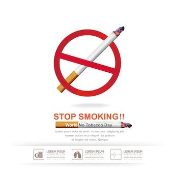 Бросьте курить концепция на фоне всемирного дня без табака.