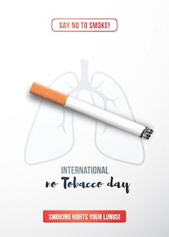 Stop smoking concept with realistic cigarette.