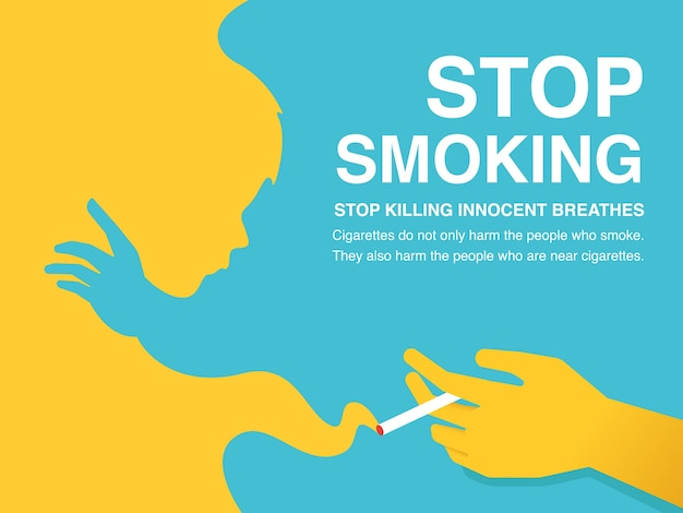 Stop smoking illustration poster.