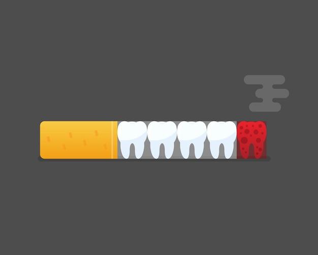 Знак бросить курить. всемирный день без табака. курение вредит зубам человека. сигарета губит зубы векторная иллюстрация eps 10