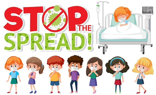Stop the spead logo with group of teenager and a patient cartoon character