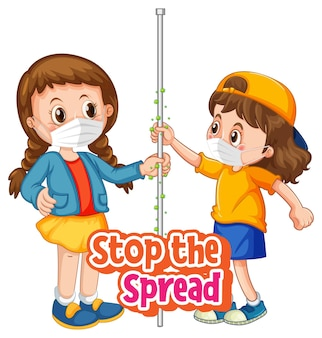 Stop the spread font with two girls do not keep social distancing isolated on white background