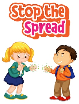 Stop the spread font with two kids do not keep social distancing isolated on white background