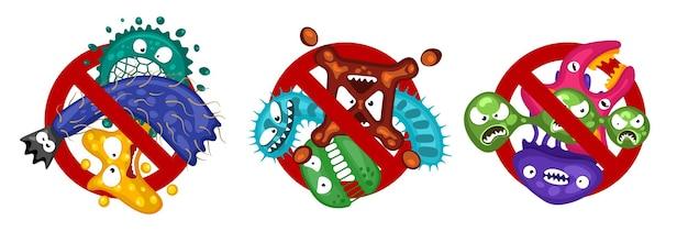 白のウイルスシンボルセット漫画細菌文字分離ベクトルイラストを広めるのを停止します。