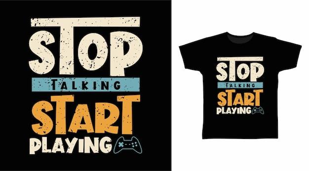타이포그래피 tshirt 디자인 재생 시작 말하기 중지