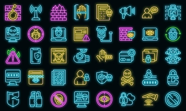 Stop theft icons set vector neon