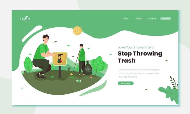 Stop throwing trash illustration concept