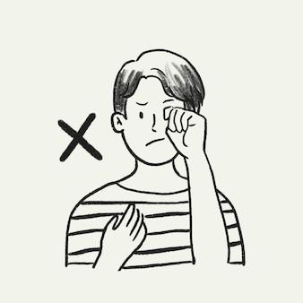 Smetti di toccare il doodle del vettore del viso, non strofinare gli occhi come una nuova normalità