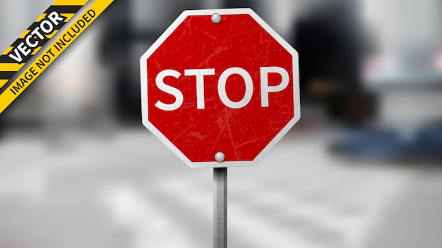 Stop traffic sign on blurred background