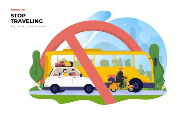 Stop traveling or no mudik transportation illustration concept